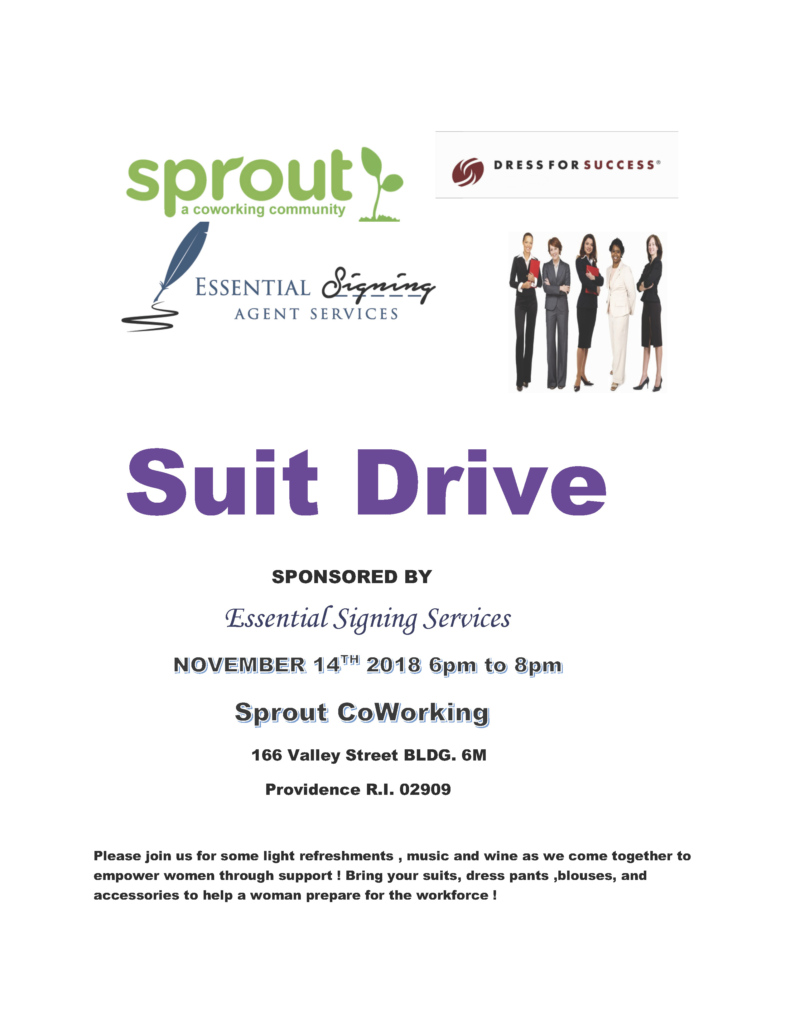 Essential Signing Services Suit Drive @ Sprout CoWorking Providence