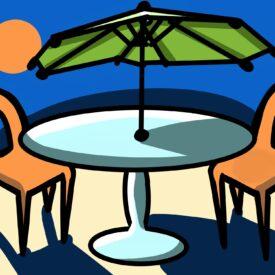Outdoor cafe seating in summer weather, warren, RI
