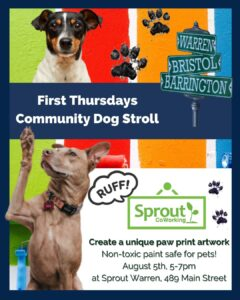 Paw Print Artwork for Community Dog Stroll @ Sprout CoWorking Warren, 489 Main St, Warren, RI 02885